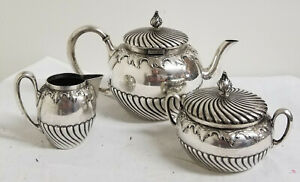 Antique Silver German 800 Coffee Tea Set Koch Bergfeld Teapot Sugar Creamer