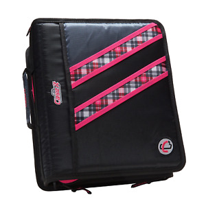 Case it Z binder Two in one 1 5 inch D ring Zipper Binders Pink Plaid