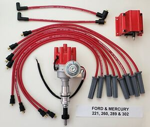 Ford 289 302 Small Female Cap Hei Distributor 8 5mm Plug Wires Red 50k Coil