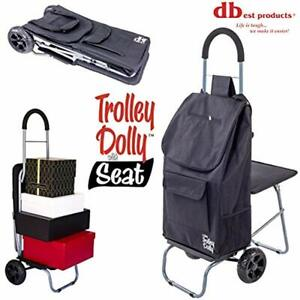 Trolley Dolly With Seat Black Shopping Grocery Foldable Cart Tailgate Home