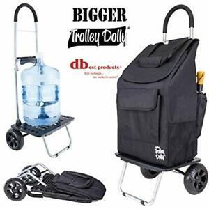 Bigger Trolley Dolly Black Shopping Grocery Foldable Cart Home