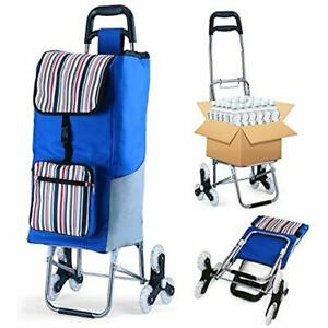 Folding Shopping Cart Grocery Utility Stair Climbing Larger Storage Stainless