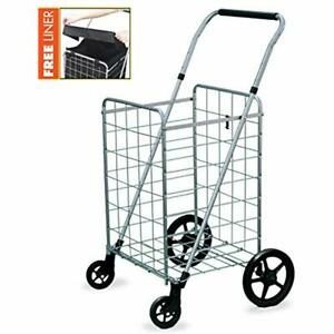 Grocery Shopping Cart With Swivel Wheels Foldable amp Collapsible Utility