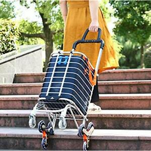 Folding Shopping Cart Portable Grocery Utility Lightweight Stair Climbing With