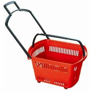 Set Of 6 Red Grocery Shopping Carts Retail Baskets W Swivel Wheels Handle