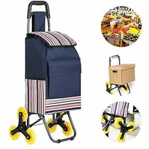 Folding Shopping Cart Stair Climbing Grocery Laundry Utility With Wheel Steel