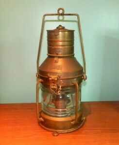 Antique 14 Anchor Brass Copper Nautical Ships Lantern Oil Electric