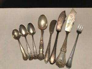 8 Piece Sterling Silver Lot Spoons Knives Fork Mono S Scrap Or Not 169 Grams