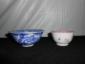 Antique Set Blue White Dragon Foo Dog Rice Bowl Chinese Famille Rose Tea Cup