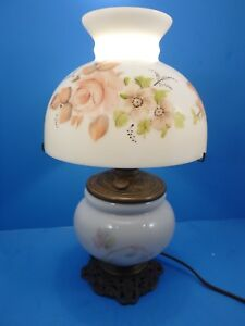 Antique Electrified Parlor Table Lamp Painted Flower Glass W Shade Hurricane