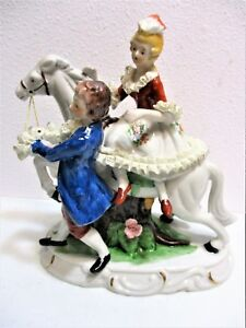Antique Dresden German Porcelain Figurine Horse Collectible Colonial French