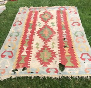 Lrg Turkish Kilim Rug 104 In Vintage Antique As Is Damaged Restoration