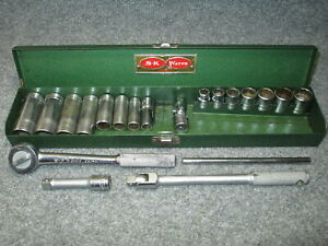 Nice Vintage S k Tools 20 Piece 3 8 Drive Sae Socket Set In Case