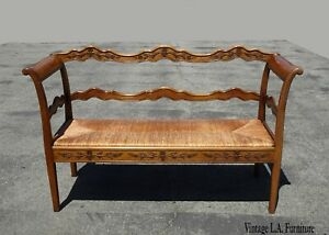 Vintage French Country Farmhouse Rustic Bench Settee W Rush Seat