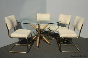 Vintage Mid Century Modern X Dining Table And Four Chairs By Chromcraft
