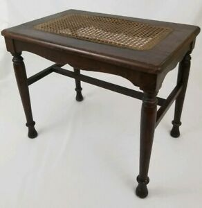Vintage Walnut Wood Stool Bench Table With Weaved Cane Rattan Top Victorian