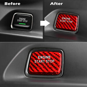 Red Carbon Fiber Engine Start Stop Button Cover Keyless Trim Decal For Chevrolet