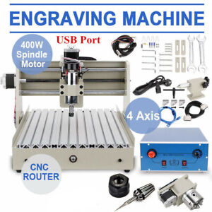 Cnc Router 3040 Engraver Wood Mill 3d Cut Drill Machine Vfd 400w 4axis Usb Port