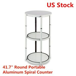 Us 41 7 White Round Portable Aluminum Spiral Counter Display Case With Panels