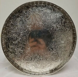 Antique Vintage Modern Silver On Copper English Small Tray Platter
