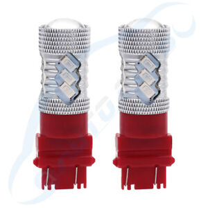2pcs 3157 3357 Cree Led Red Drl Daytime Lamps 6000lm Light Car Pair Us Stock