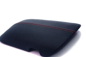 Center Console Armrest Vinyl Leather Cover For Ford Mustang 15 19 Red Stitch