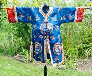 Gorgeous Vintage Royal Blue Chinese Embroidered Dragon Jacket Robe Silk