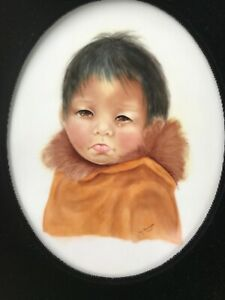 Antique Portrait Painting Porcelain Plaque Eskimo Inuit Child Pj Marburger 1925