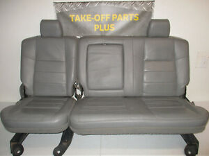 1999 2010 Ford F250 F350 F450 Gray Leather Rear Seat 60 40 Crew Cab
