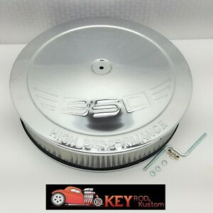 14 X3 Chrome Round Air Cleaner Set Kit Hei Offset Base Chevy Sbc 350 Logo