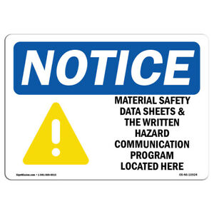 Osha Notice Notice Material Safety Data Sheets Hazard Program Sign Label