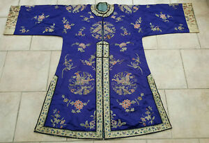 Antique Rare Robe Chinese Silk Embroidery Flower Qing 19th C