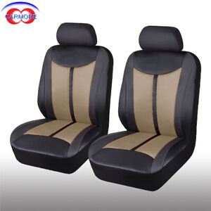 2 Front 6pc Pu Leather Mesh Car Seat Covers Set Breathable Beige Seats Protector