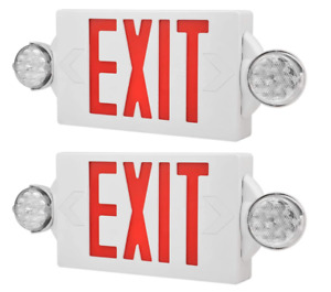2pack Led Exit Sign Emergency Light hi Output Red green Compact Combo Ul Listed