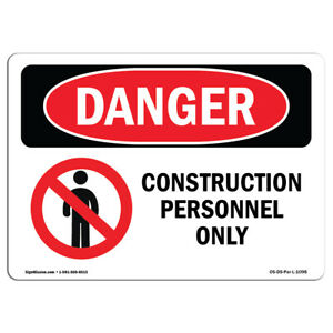 Osha Danger Sign Construction Personnel Only Heavy Duty Sign Or Label