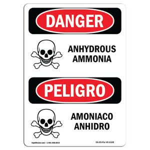 Osha Danger Sign Anhydrous Ammonia Bilingual Heavy Duty Sign Or Label