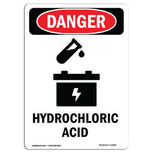 Osha Danger Sign ghs Hydrochloric Acid Heavy Duty Sign Or Label