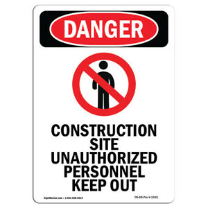 Osha Danger Sign Construction Site Heavy Duty Sign Or Label