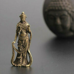 Chinese Collection Handwork Bronze Guanyin Bodhisattva Exquisite Small Statue