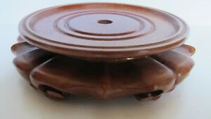Vintage Chinese Carved Wood Vase Jar Statue Stand For 4 75 Vase Base