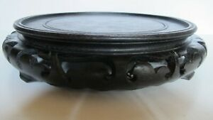 Large Antique Chinese Carved Ebony Wood Vase Statue Stand For 8 Vase Base