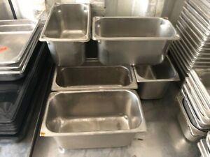 Set Of 6 Commercial Stainless Steel 12 75 X 6 75 Insert Steam Food Sauce Pans