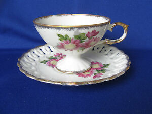 Vintage Porcelain Tea Cup And Reticulated Saucer