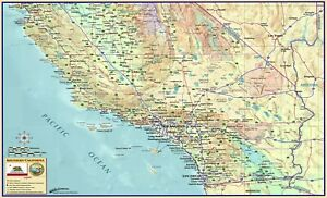 Colorful Southern California Wall Map large