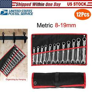 12pc 5 16 To 3 4 Metric 8mm To 19mm Flex Head Ratcheting Wrench Spanner Set