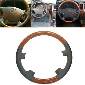 Gray Leather Wood Steering Wheel Cover For 03 07 Lexus Lx470 Gx470 Prado Fj120