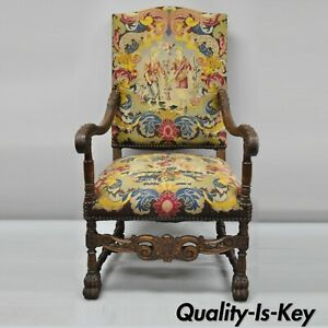 19th C French Renaissance Needlepoint Upholstery Carved Walnut Throne Arm Chair