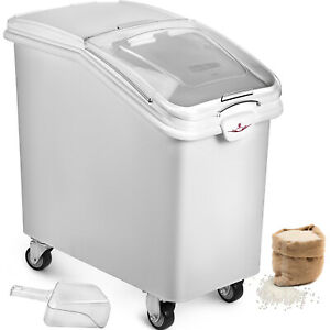 Ingredient Bin With Casters 21 Gallon Mobile Restaurant Kitchen Flour Bins