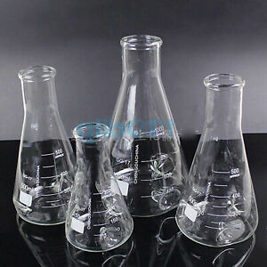 250 500 1000 2000ml Gg17 Glass Baffle Shake Conical Erlenmeye Flask Laboratory