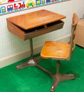 Antique Vintage School Desk W Connected Chair Interior Design Child Bedroom